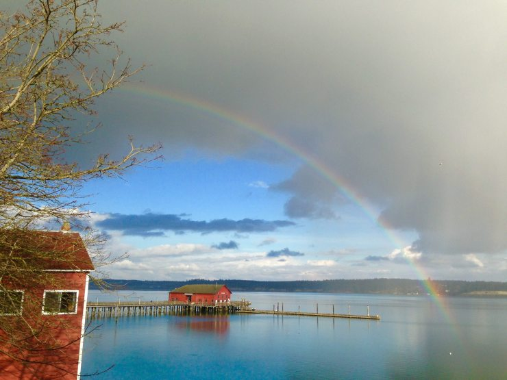 pot of gold rainbow on Penn Cove